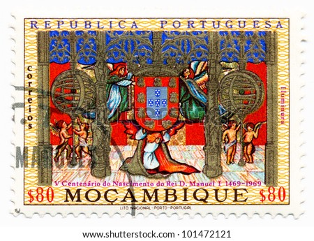 MOZAMBIQUE - CIRCA 1969: A stamp printed in Mozambique, shows a Illuminated Miniature of royal coat of arms, 500th anniversary of the birth of King Manuel I, circa 1969