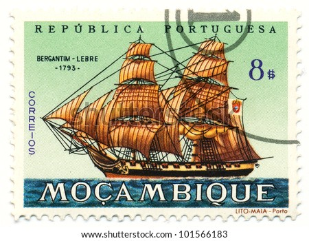 MOZAMBIQUE - CIRCA 1963: A stamp printed in Mozambique, shows Brigantine Lebre, 1793, series, circa 1963