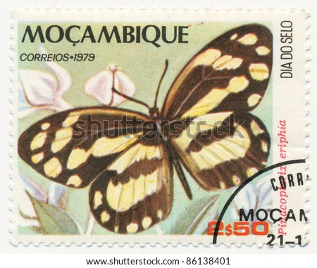 MOZAMBIQUE - CIRCA 1979: A stamp printed in Mozambique, shows Pinacopterix eriphia, series Butterflies, circa 1979