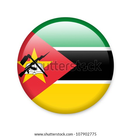 Mozambique - glossy button with flag