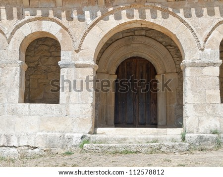 Mozarabic chapel with Romanesque portico of St. Cecilia in santibaÃ?±ez of val in the province of Burgos, Spain Stock fotó ©