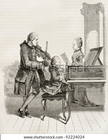 Mozart wonder child with his father and sister in 1763, old illustration. After Carmontelle, watercolour, published on Magasin Pittoresque, Paris, 1845