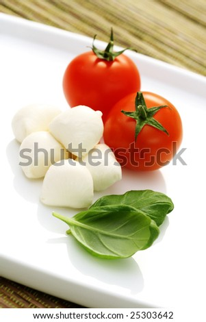 mozzarella and fresh cherry tomatoes - food and drink