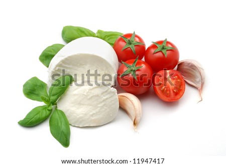 Mozzarella, basil and garlic