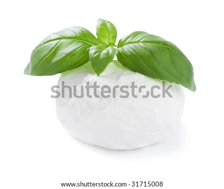 mozzarella cheese  ball with basil leaf isolated on white, lightly shadow