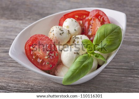 Mozzarella cheese,tomato and basil on a plate