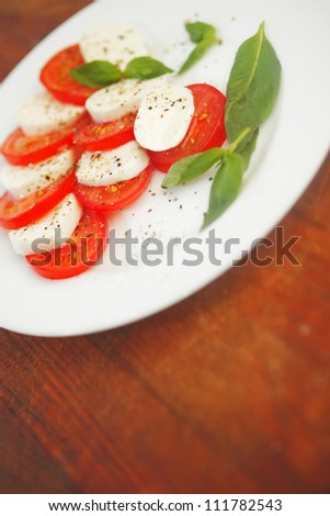 Mozzarella cheese tomato and basil on a plate