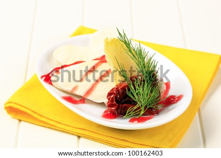 Mozzarella cheese with garnish