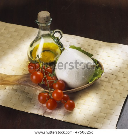 mozzarella cheese with tomatoes an olive oil