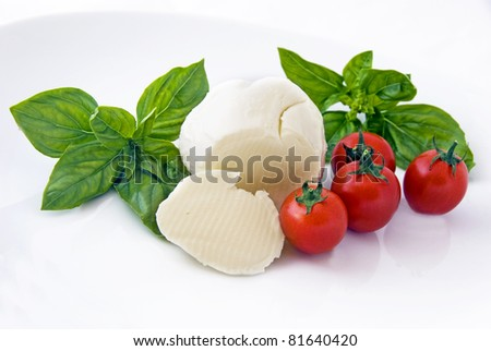mozzarella, cherry tomatoes and basil om white background