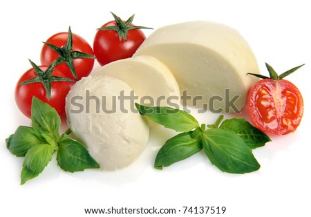 mozzarella cherry tomatoes basil on a white background