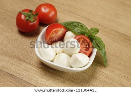 Mozzarella with fresh tomatoes and basil