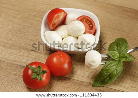 Mozzarella with fresh tomatoes and basil - stock photo