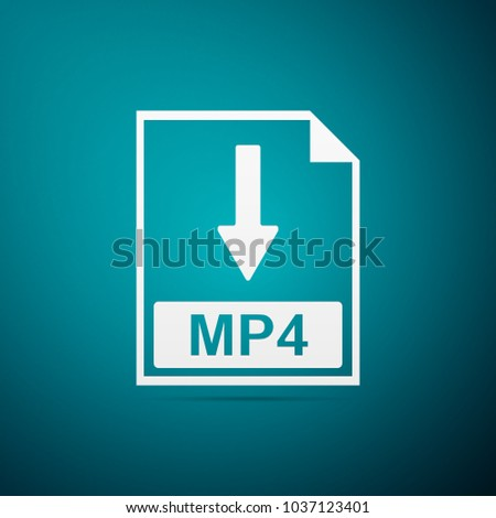 MP4 file document icon. Download MP4 button icon isolated on blue background. Flat design