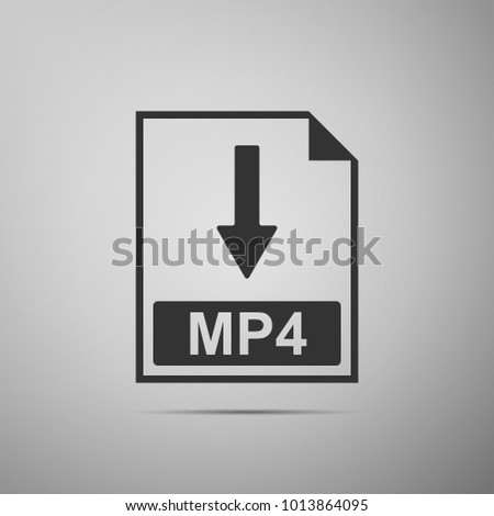 MP4 file document icon. Download MP4 button icon isolated on grey background. Flat design