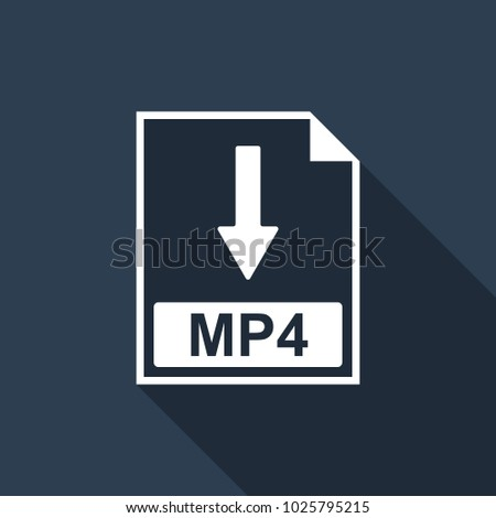 MP4 file document icon. Download MP4 button icon isolated with long shadow. Flat design