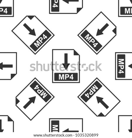 MP4 file document icon. Download MP4 button icon seamless pattern on white background. Flat design
