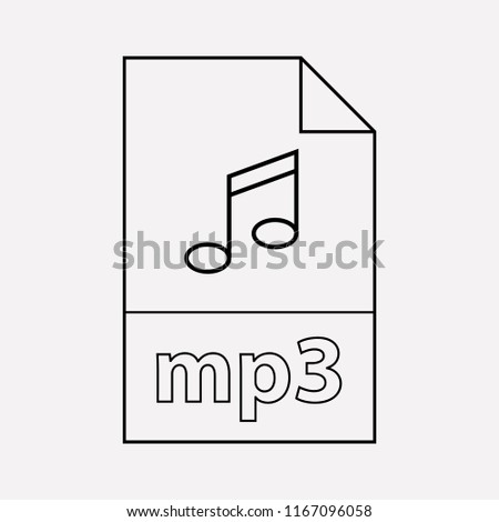 Mp3 file icon line element.  illustration of mp3 file icon line isolated on clean background for your web mobile app logo design.