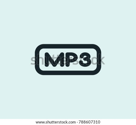 Mp3 file icon line isolated on clean background. Multimedia concept drawing icon line in modern style.  illustration for your web site mobile logo app UI design.