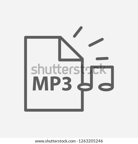 Mp3 file icon line symbol. Isolated  illustration of  icon sign concept for your web site mobile app logo UI design.