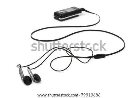 MP3 player and earphones isolated on white background
