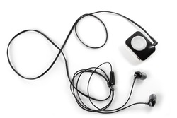 Mp3 player and headphones, isolated on white