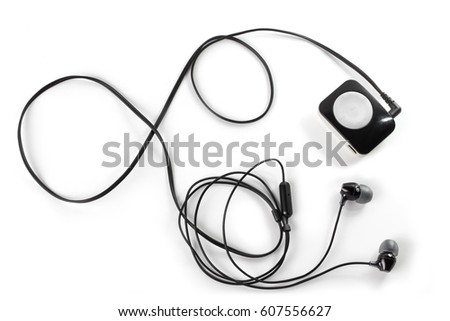 Mp3 player and headphones, isolated on white #607556627