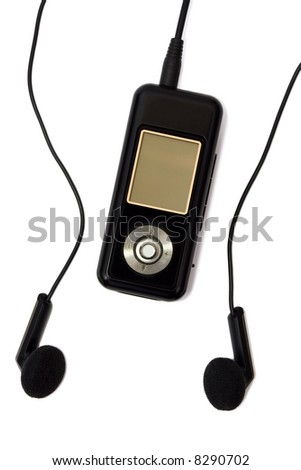 MP3 player and headphones, isolated on white background