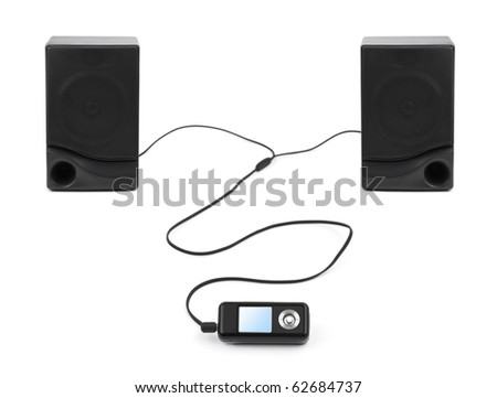 MP3 player and speakers isolated on white background