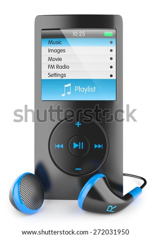 mp3 player audio musical portable headphones Walkman ipod iphone, apple isolated 3d
