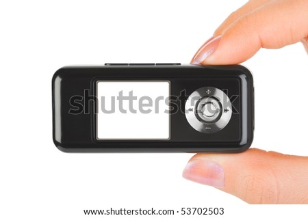 Mp3 player in hand isolated on white background