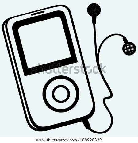 MP3 player with earphones. Isolated on blue background. Raster version