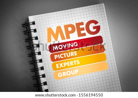 MPEG - Moving Picture Experts Group acronym, technology concept background