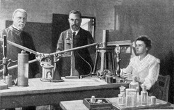 Mr and Mrs Curie in their laboratory, vintage engraved illustration. From the Universe and Humanity, 1910.