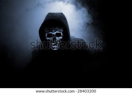 Mr death in hood and smoke