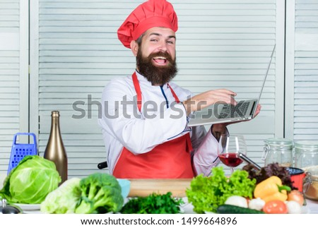 Mr. Expertise. Cuisine culinary. Vitamin. Happy bearded man. chef recipe. Healthy food cooking. Mature hipster with beard. Vegetarian salad with fresh vegetables. Dieting organic food. #1499664896
