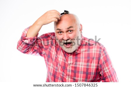 Mr. Expertise. unshaven old man has moustache and beard. cut and brush hair. mature bearded man isolated on white. barbershop concept. shaving accessories. shaving razor blade tool kit. #1507846325