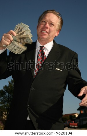 Mr. Money Man has money to loan. Banking, Loan, Financial, Business, concepts - stock photo