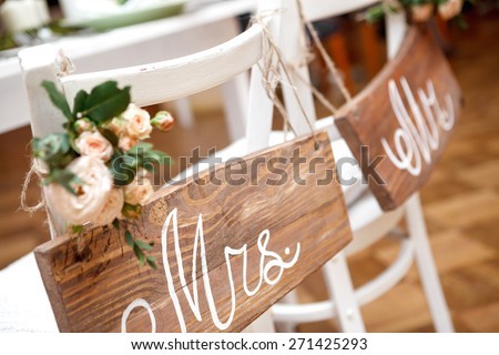 Mr. & Mrs. Sign on the chair ストックフォト ©