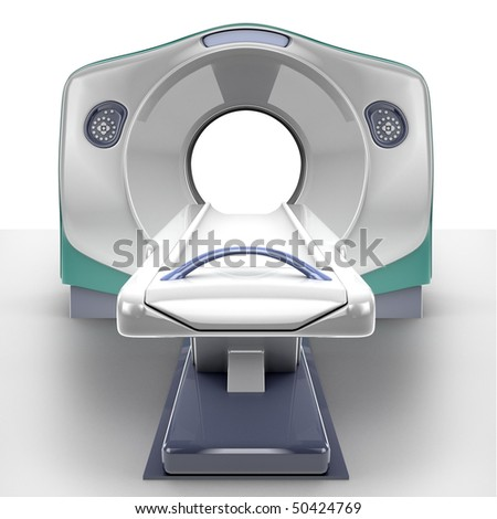 MRI scanner isolated on white background - stock photo