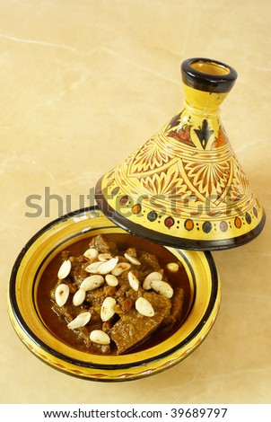 Mrouzia - Moroccan Tagine with Raisins, Almonds and Honey - stock photo
