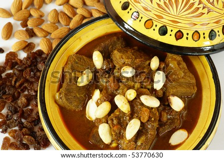 Mrouzia - Moroccan Tagine with Raisins, Almonds and Honey