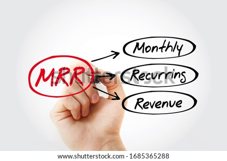 MRR - Monthly Recurring Revenue acronym with marker, business concept background