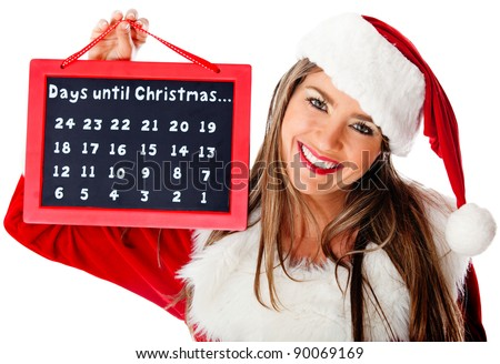 Mrs Claus holding a December calendar for the Christmas countdown