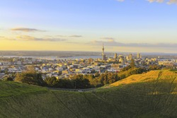 Mt Eden Crater and View to Auckland City, New Zealand; Mount Eden Auckland New Zealand