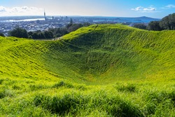 Mt Eden Crater and View to Auckland New Zealand; Mount Eden Auckland New Zealand