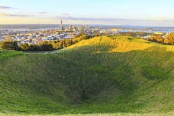 Mt Eden Volcanic Cones and View to Auckland City, New Zealand; Mount Eden Auckland New Zealand