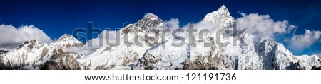 Mt. Everest, Changtse and Nuptse in Himalaya