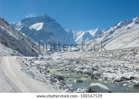 Mt. Everest from Rongbuk, a village/monastery beneath the base camp