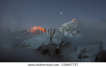 Mt. Everest (8848 m)  in the last light of the Sun (view from Kala Patthar) - Nepal, Himalayas